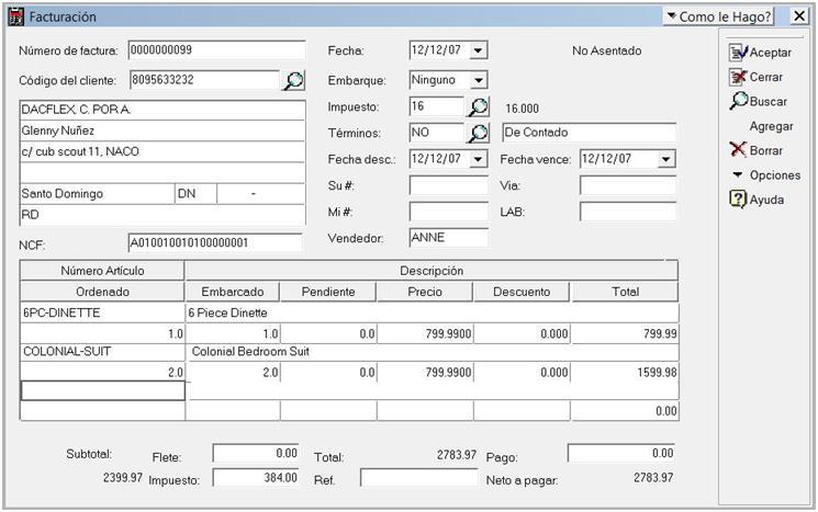 transaccion facturacion