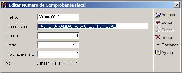 Editar Numero de Comprobante Fiscal NCF
